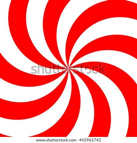 Retro red and white spiral sunburst - stock vector