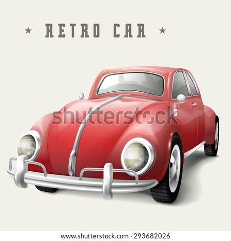 retro red car design isolated on white background - stock vector