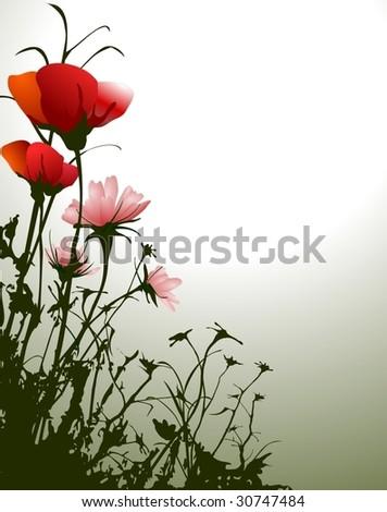 retro red flowers - stock vector