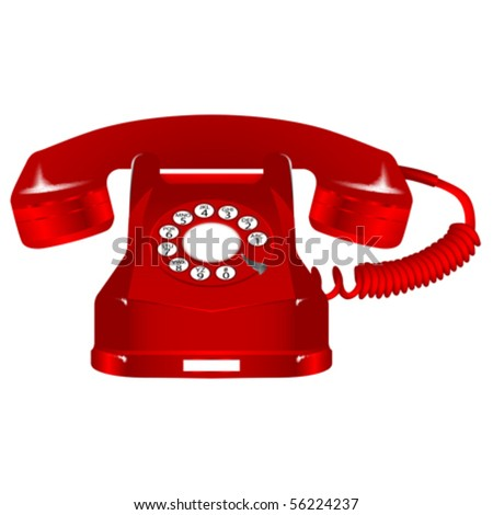 retro red telephone against white background, abstract vector art illustration - stock vector