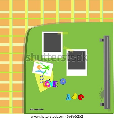 Retro Refrigerator with old blank photo - stock vector