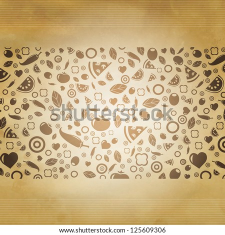 Retro Restaurant Background With Icons With Gradient Mesh, Vector Illustration - stock vector