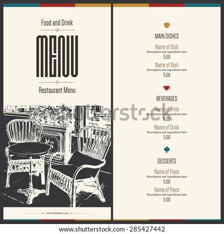 Retro restaurant menu design. With a sketch picture - stock vector