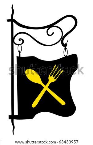 Retro restaurant sign vector illustration - stock vector
