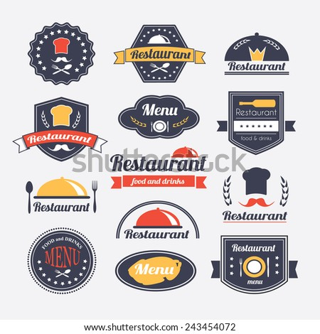 Retro restaurant vintage Insignias or logotypes  set. Vector design elements, business signs, logos, identity, labels, badges and objects. - stock vector