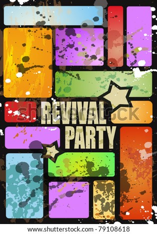 Retro' revival disco party flyer or poster for musical event - stock vector