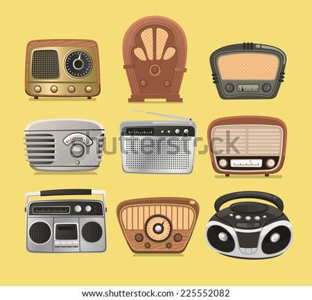 Retro revival radios tuner broadcasting system vector illustration. - stock vector