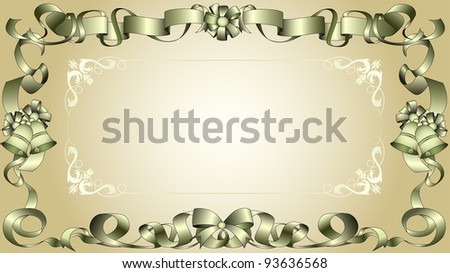 Retro ribbon frame with bows, bells, and an ornamental floral design. - stock vector