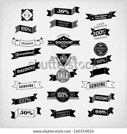 retro ribbons and labels. Vector illustration/ old style - stock vector