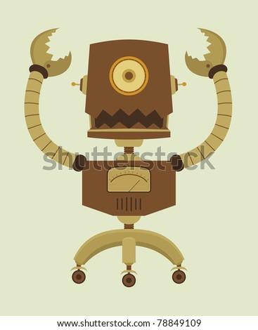 Retro Robot character - stock vector