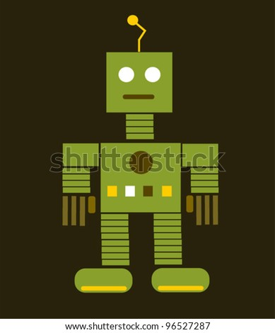 retro robot with antenna - stock vector