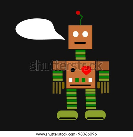 retro robot with text bubble - stock vector