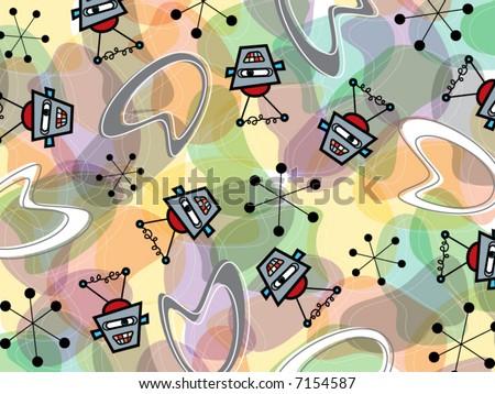 retro robots and boomerang pattern (vector) - stock vector