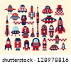 retro rocket icons set element - stock photo