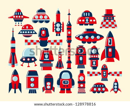 retro rocket icons set element - stock vector