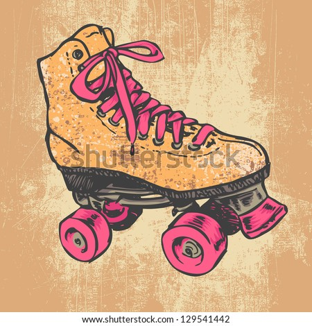 Retro Roller Skate And Grunge Texture Background. Vector Illustration. - stock vector