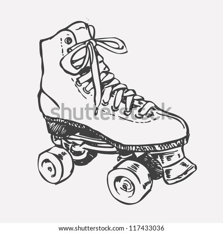 Retro Roller Skate. drawing style. vector object isolated on white. - stock vector