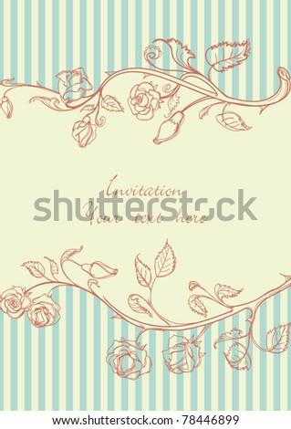 Retro roses frame - stock vector