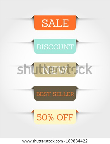 retro rounded rectangular stickers with shadow. sale concept. - stock vector