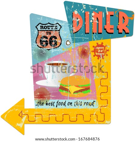 Retro route 66 diner sign, vector illustration - stock vector