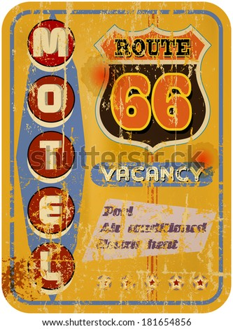 retro route 66 Motel sign,vacation,  vector - stock vector