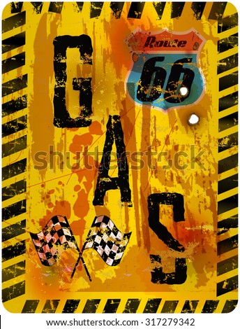 retro route sixty six gas station sign, vector illustration, super grungy style, fictional artwork - stock vector