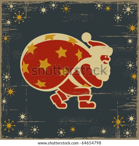 Retro Santa Claus. Vector - stock vector