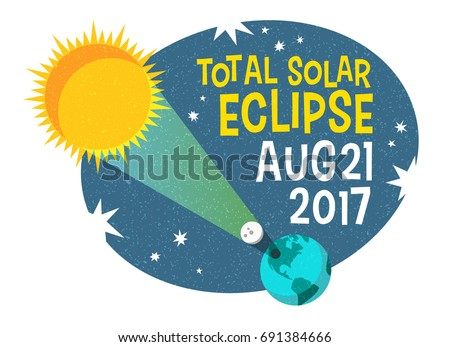 retro science illustration of the solar eclipse with starry night background. Web banner, card, poster or t-shirt design. vector illustration.