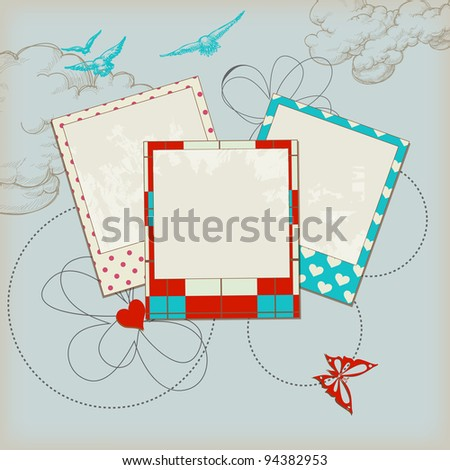 Retro scrap template, sky background and photo frames - stock vector