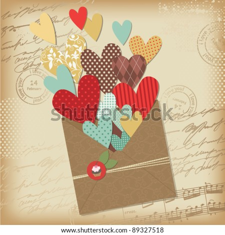 Retro scrapbooking elements, Valentine card - stock vector