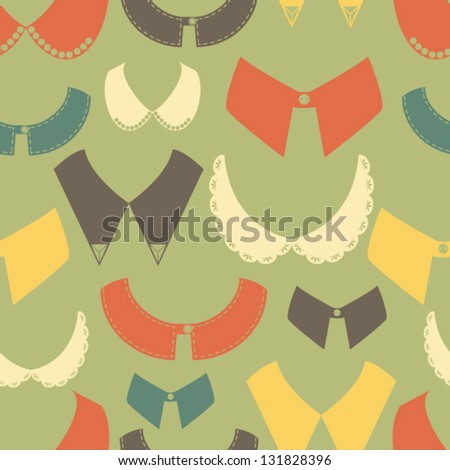 Retro seamless background with colorful collar. Fashion icons pattern.vector illustration