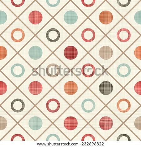 retro seamless colorful polka dots pattern  - stock vector