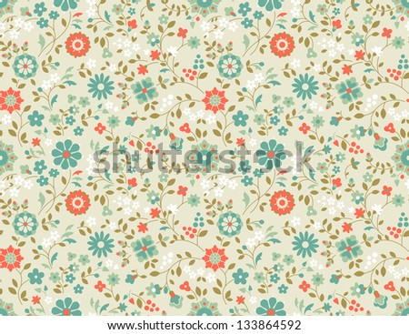 Retro seamless floral pattern. Decorative vector background with wild flowers. - stock vector