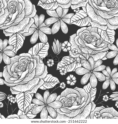 retro seamless hand drawn rose pattern over black background - stock vector