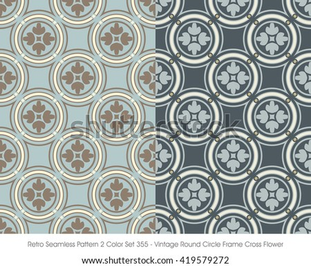 Retro Seamless Pattern 2 Color Set_355 Vintage Round Circle Fram