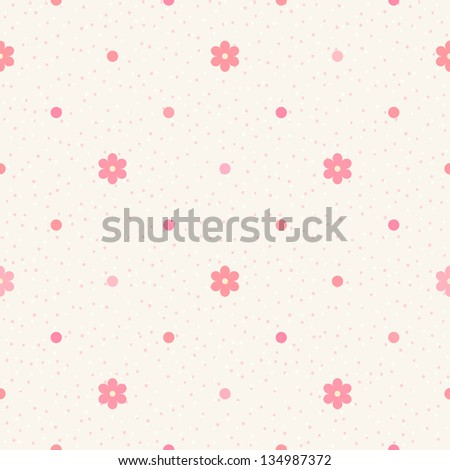 Retro seamless pattern. Pink flowers and dots on beige background - stock vector