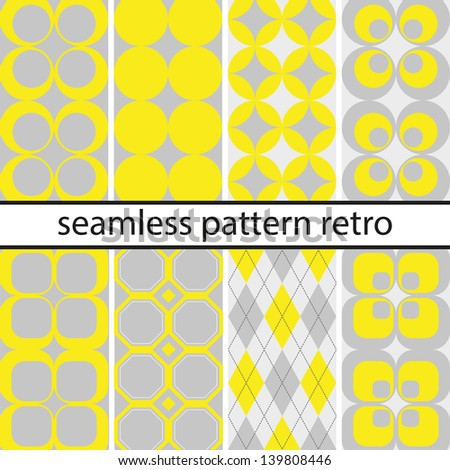 Retro seamless pattern vintage set - stock vector
