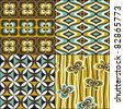 Retro seamless pattern wallpaper set vintage - stock vector