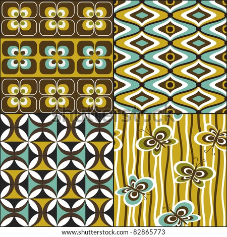 Retro seamless pattern wallpaper set vintage - stock vector