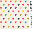 retro seamless pattern with colorful hearts - stock photo