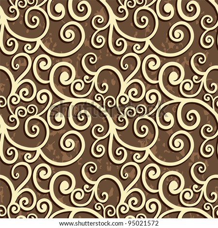 Retro Seamless Pattern With Curves On Grunge Texture - stock vector