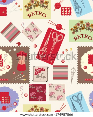 Retro seamless pattern with sewing accessories - stock vector