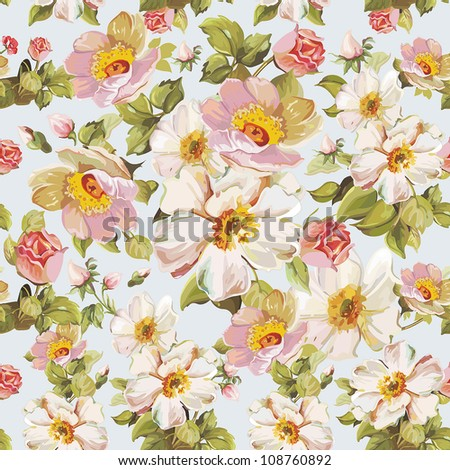 Retro seamless pattern with stylized flowers. Romantic Elegance vector illustration. - stock vector