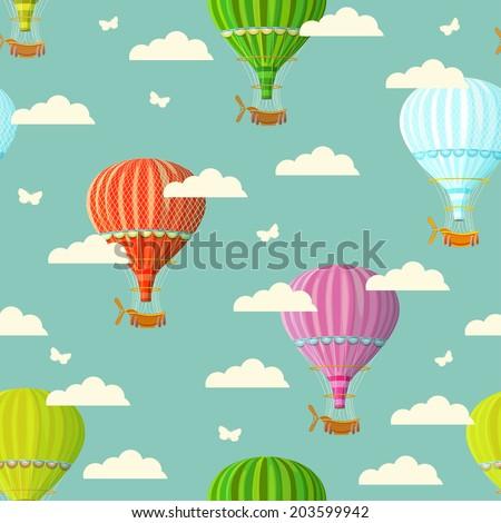 Retro seamless travel pattern of balloons. Vector illustration. - stock vector