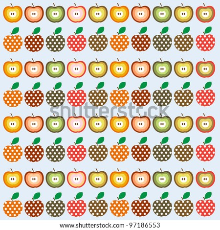 stock vector retro seamless vector pattern with apples 97186553 - Каталог — Фотообои «Еда, фрукты, для кухни»