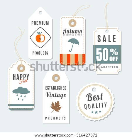 Retro set of autumn, fall vintage sale and quality labels, cardboard tags, vector illustration - stock vector
