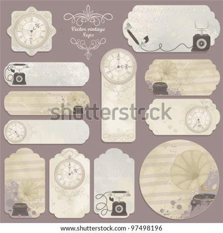 Retro set of cards with hours, telephone and gramophone - stock vector