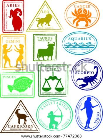 Retro Set of Fun Astrology Horoscope Passport Stamps Vector Illustration - stock vector