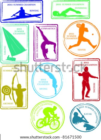 retro set fun summer sports passport stock vector 2018 81671500 rh shutterstock com passport stamps vector png passport stamp vector image