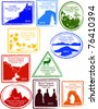 Retro Set of Fun USA National Park Passport Stamps Vector Illustration - stock photo
